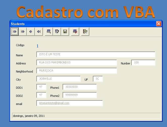 Cadastro VBA no Excel