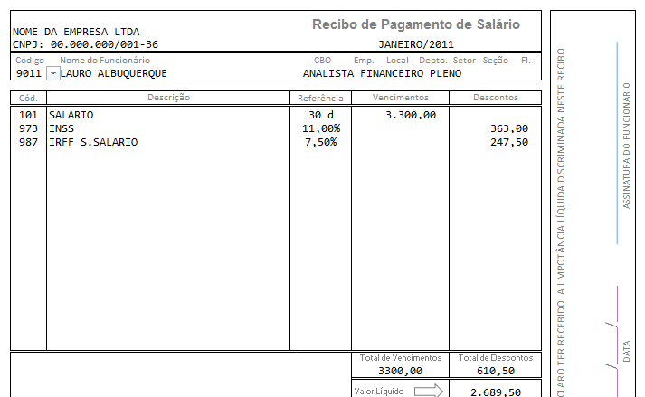 Planilha holerite Excel preto e brancoHolerite gratutito Excel