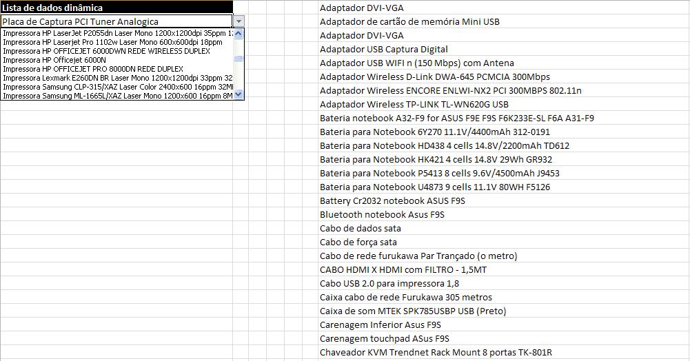 Lista de dados com tamanho dinâmico - Excel