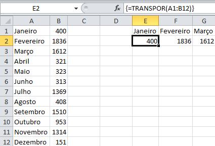 Função Transpor - Excel