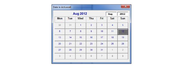 Calendário no Excel 2010