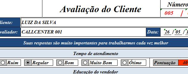 Planilha de Pesquisa - Avaliação de clientes - Planilha pronta Excel