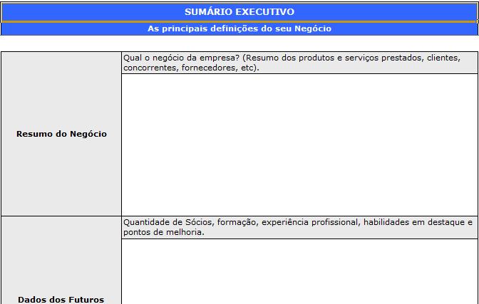 Plano de negócios 2 Excel