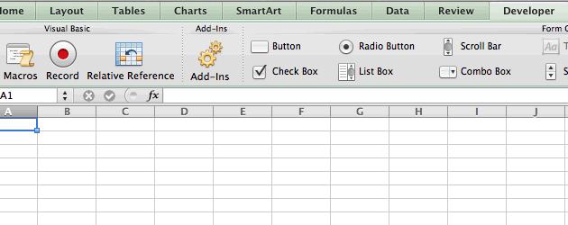 Habilitar guia Desenvolvedor no Excel 2011 para Mac - Editor visual basic VBA