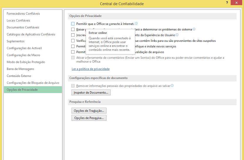 Conectando-se com o servidor proxy store.office.com Excel 2013