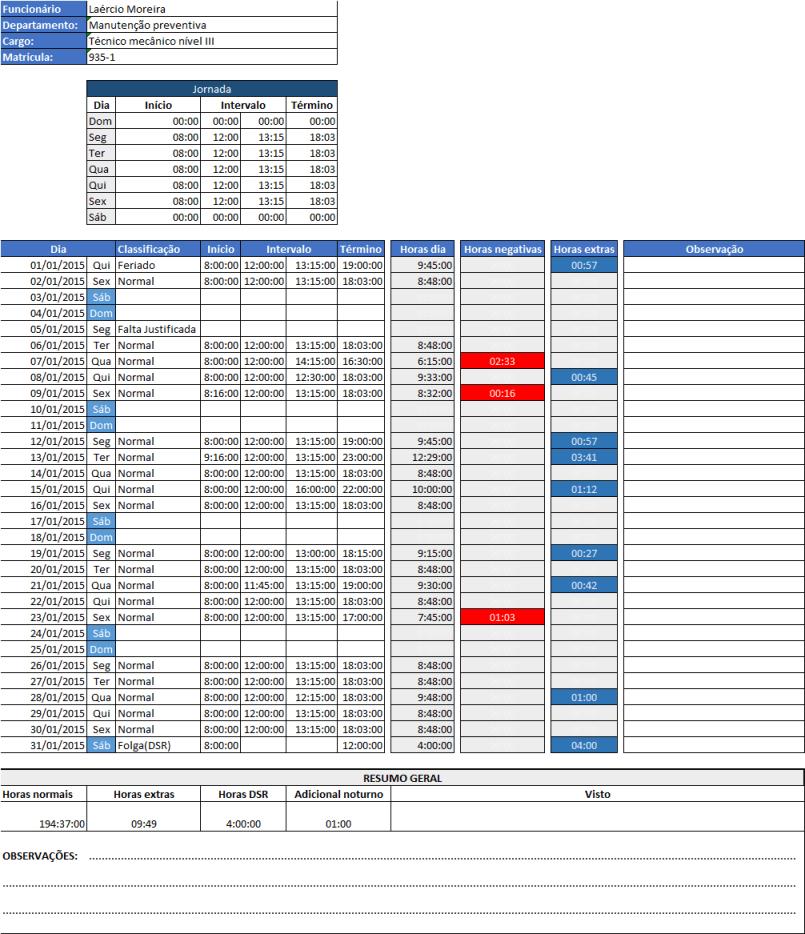 Hora extra e banco de horas Excel grátis 11