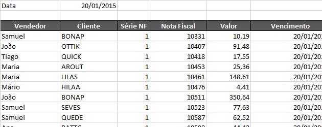 Filtro automático com data no Excel matricial