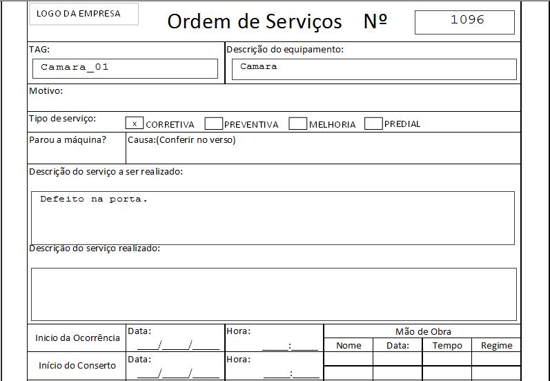 Manutenção industrial Impressão da ordem de serviço