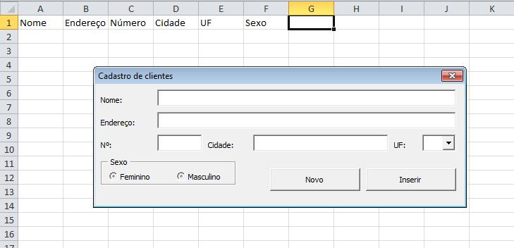 Formulário de cadastro VBA Excel automático