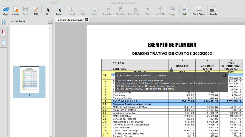 Converter pdf para Excel Able2Extract Profissional 10 2