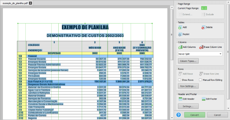 Converter pdf para Excel Able2Extract Profissional 10 4