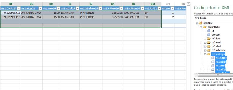 Planilha NF-e XML 7 - mapa xml excel