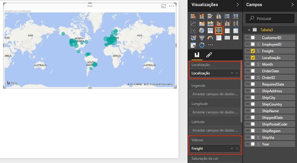 Gráfico de mapa Power BI