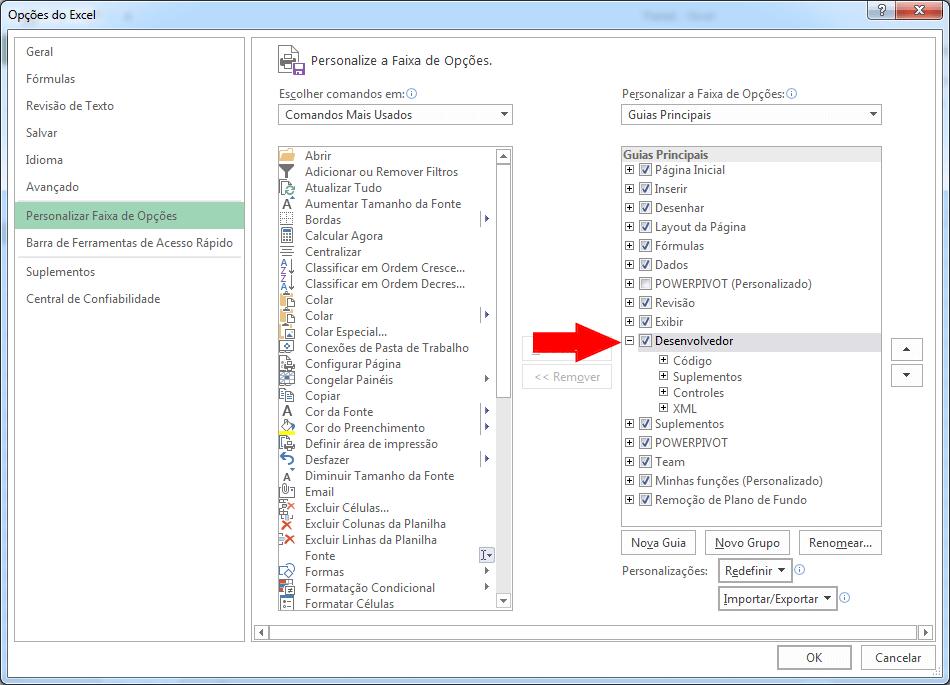 Habilitar guia desenvolvedor Excel 2010 2013 2016