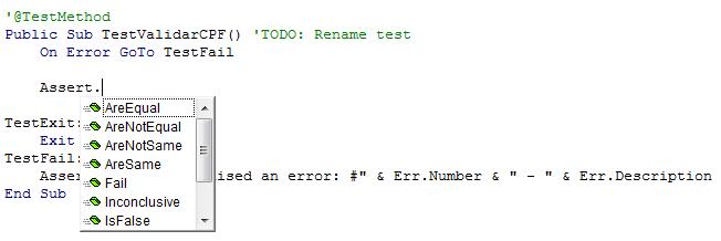 Teste unitário Excel VBA
