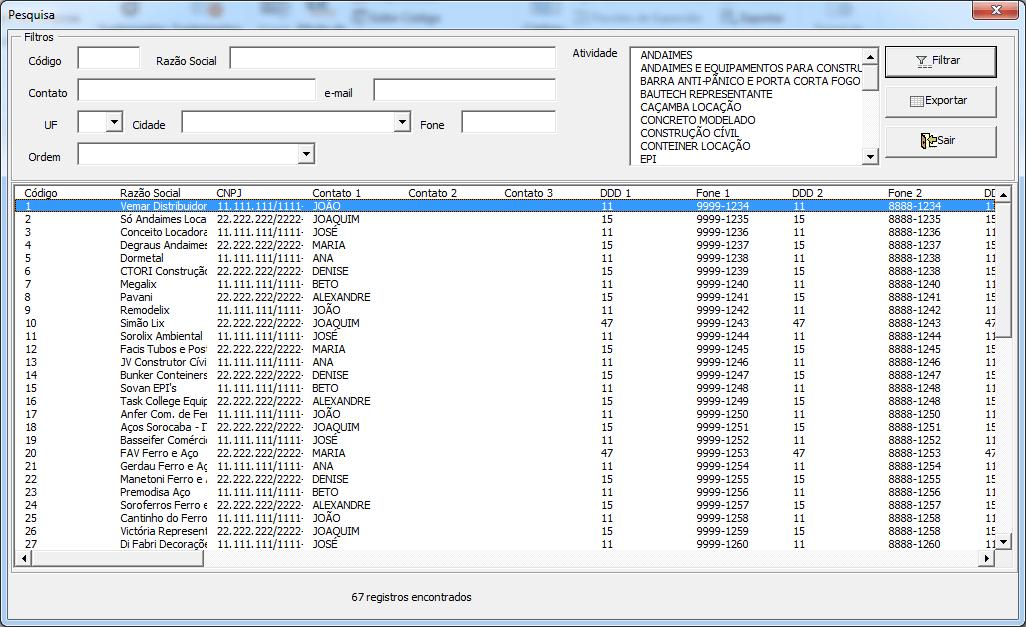 Cadastro de fornecedores Excel planilha 3