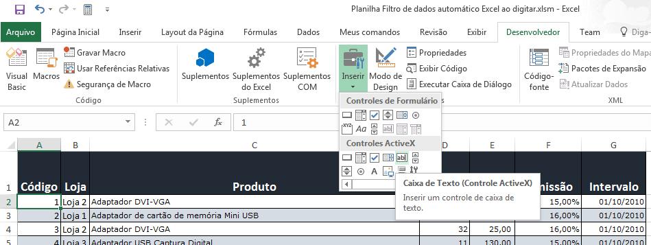 Filtro automático Excel ao digitar