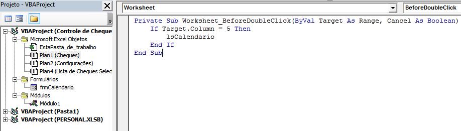 Calendário na célula Excel